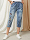 Cartoon Cats Letter Graphic Embroidery Washed Denim Elastic Waist Jeans - Blue