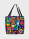 Women Flannel Colorful Cat Pattern Printed Handbag Shoulder Bag Tote - Rainbow