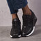 Large Size Women Round Toe Hollow Breathable Lace Up Wedges Sneakers - Black