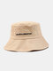 Unisex Cotton Solid Color Letter Embroidered Fashion Sunshade Bucket Hat - Beige