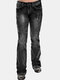 Vintage Embroidery Button Casual Demin Jeans For Women - Black