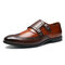 Men Leather Splicing Non Slip Metal Buckle Large Size Brogue Formal Shoes