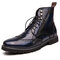 Men Stylish Brogue Carved Lace Up Leather Ankle  Boots - Blue