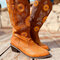 Women's Large Size Sunflowers Embroidered Chunky Heel Pointed Toe Mid-Calf Cowboy Boots - Brown