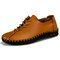 Men Cow Leather Hand Stitching Non Slip Soft Sole Casual Shoes - Brown