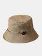 Unisex Cotton Camouflage Solid Climbing Outdoor Sunshade Adjustable Bucket Hat - Khaki