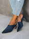 Large Size Solid Color Suede Pointed Closed Toe Mules Heels For Women - Blue