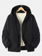 Mens Two-Sided Wearable Zip Up Applique Sherpa Warm Hooded Overcoats - Black
