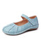 LOSTISY Handmade Stitching Hook Loop Casual Flat Loafers For Women - Blue