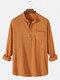 Mens 6 Color Cotton Linen Solid Casual Henley Shirts With Pocket - Brown