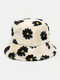 Women & Men Lamb Wool Fur Soft Warm Plus Thicken Casual All-match Cute Daisy Flower Pattern Bucket Hat - White