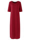 Solid Color O-neck High Slit Plus Size Dress for Women - Wine Red