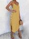 ソリッドカラーのセクシーなVネックのドレスビーチドレス - 黄