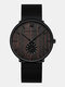 Ultra Thin Men Business Watch Ebony Wood Grain Bamboo Wood Dial Steel Mesh Band Quartz Watch - #02