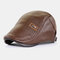 COLLROWN Men Faux Leather Solid Color Casual Retro Visor Sun Hat Forward Hat Beret Hat - Coffee