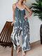 Spaghetti Straps Blooming Printed Striped Jumpsuit For Women - Grey