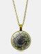 Vintage Glass Printed Women Necklace Black Cat Divination Pendant Sweater Chain Jewelry Gift - Bronze
