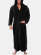 Mens Pure Color Comfy Soft Waist Drawstring Hooded  Pajamas With Two Pockets - Black