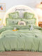 4Pcs Flannel Floral Overlay Towel Embroidery Autumn And Winter Warm Comfy Bedding Milk Velvet Series Kit - Green