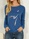Cat Print Long Sleeves O-neck Casual T-shirt For Women - Blue