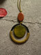 Wood Vintage Ethnic Circle-shape Long Necklace Pendent - Green