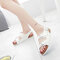Women Casual Solid Color Dual Strap Buckle Slingback Sandals - White