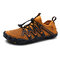 Men Breathable Mesh Fabric Non Slip Elastic Lace Casual Water Shoes - Brown