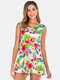 Maternity Floral Sleeveless Front Open Casual Nursing Tops - White