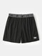 Mesh Solid Color Letter Printing Patchwork Mesh Breathable Mini Lounge Shorts - Black
