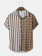 Mens Striped Checkered Colorblock Lapel Short Sleeve Casual Shirt - Brown