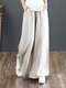 Casual Loose Drawstring Plus Size Wide Leg Pants - Beige