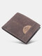 Vintage Sewing Thread Multifunction Wearable Smooth Fabric Business Foldable Hollow ID Card Holder Wallet - Dark Coffee