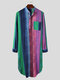 Ethnic Multi-Color Striped Dot Cotton Breathable Long Sleeve Loungewear Robe With Chest Pockets - Blue