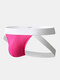 Mens Contrast Color Cotton Thin Elastic Waistband Low Waist Sexy Thongs - Pink