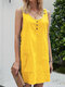 Solid Color Sleeveless Button Women Casual Dress With Pockets - Yellow