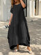 Plus Size Solid O-neck Pocket Casual Tee Dress - Black