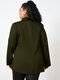 Solid Color Lapel Long Sleeve Button Plus Size Jackets for Women - Army Green
