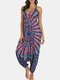 Bohemian Print Drop-crotch Yoga Straps Jumpsuit