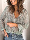 Floral Print Casual Long Sleeve Turn Down Collar Blouse for Women - Green