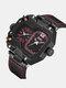 Vintage Large Dial Men Watch Dual Time Zone Waterproof Quartz Watch - Red
