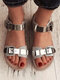 Plus Size Casual Serpentine Splicing Buckle Flat Sandals For Women - Silver