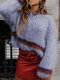 Striped Patchwork O-neck Long Sleeve Sweater - Blue