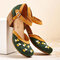 Plus Size Women Comfy Closed Toe Embroidered Buckle Strap Pumps - Green