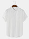 Mens Texture 100% Cotton Short Sleeve Henley Shirt With Pocket - White