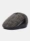 Men Woolen PU Patchwork Knitted Fine Lattice Pattern Hidden Ear Protection Casual Warmth Beret Flat Cap - Coffee Patchwork