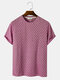 Mens Striped Texture Crew Neck Casual Short Sleeve T-Shirts - Red