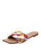 Pantofole da donna comode estive con punta quadrata in tessuto colorblock - blu