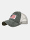 Unisex Washed Distressed Cotton Mesh Patchwork American Flag Pattern Embroidery Broken Hole Baseball Caps - Army Green