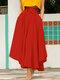 تنورة سادة اللون بأربطة بسحاب جانبي غير متناظرة - أحمر