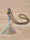 Vintage Ethnic Tassel Pendant Alloy Turquoise Chicken Wing Wood Beads Necklace - Colorful